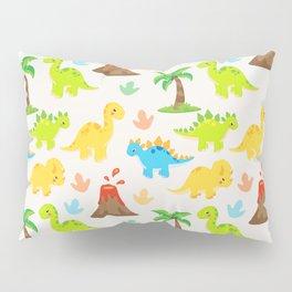 Cute Dinosaurs Nursery Illustration with Brontosaurus Stegosaurus and Triceratops Pillow Sham