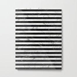 Marble Stripes Pattern - Black and White Metal Print