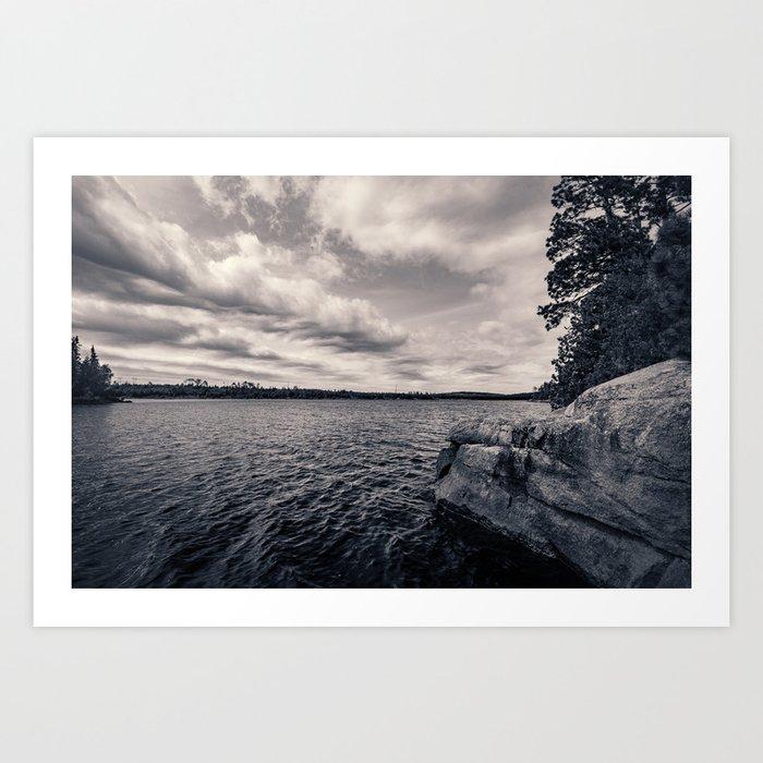 Black and White Boundary Waters Lake Art Print