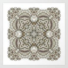 Kaleidoscope No.11 - White Diamonds Art Print