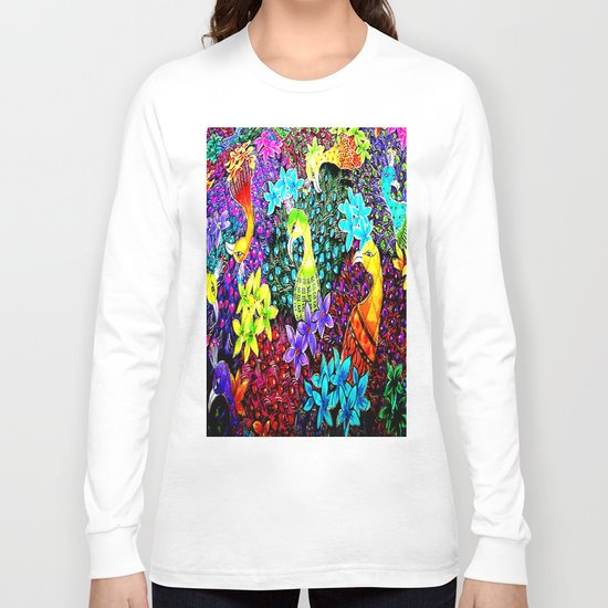 Colored Jungle Birds Long Sleeve T-shirt
