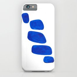 Mid Century Vintage Abstract Minimalist Colorful Pop Art Indigenous Phthalo Blue Pebbles Stacked iPhone Case