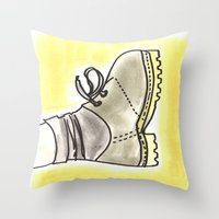 shoe Throw Pillows featuring shoe by yayanastasia