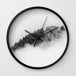 Minimalist forest in a sea of clouds in Black and White – Landscape Photography Wall Clock