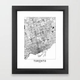 Toronto White Map Framed Art Print