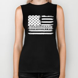 Washington Correctional Officers Gift for Policeman, Cop or State Trooper Thin Silver Line Biker Tank
