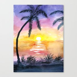 Sunset Silhouette Watercolor Canvas Print