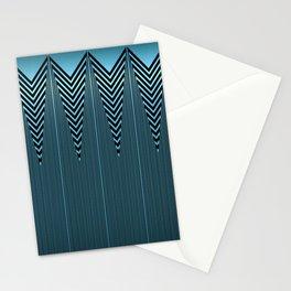 Gleaming Metallic Blue Art Deco Design Stationery Cards