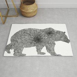Floral Line Work Bear in Black Rug