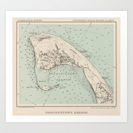 Vintage Map of Provincetown MA (1892) Art Print