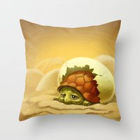 turtle Throw Pillows featuring turtle by Antracit