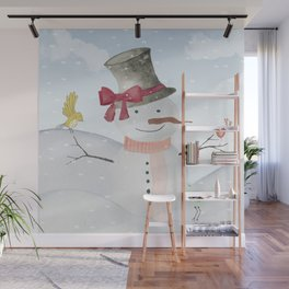 Winter Wonderland- Snowman and birds - Watercolor illustration Wall Mural