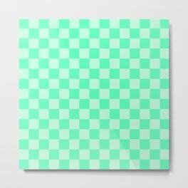 Mint Green Check Metal Print