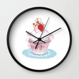 Strawberry Cupcake  Wall Clock