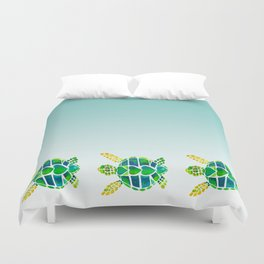 Swimming Baby Sea Turtles Duvet Cover
