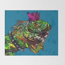 Punk Iguana Throw Blanket