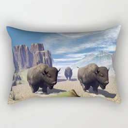 Awesome running bisons Rectangular Pillow