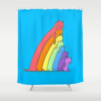 because cats Shower Curtains featuring Rainbow Cats by benk
