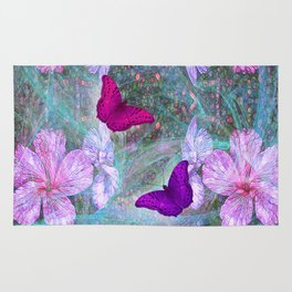 Fabulous pink hibiscus and vibrant butterflies Rug