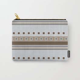 Squares and Stripes in Gray and Browns Carry-All Pouch