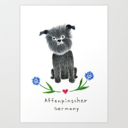 A is for Affenpinscher Art Print
