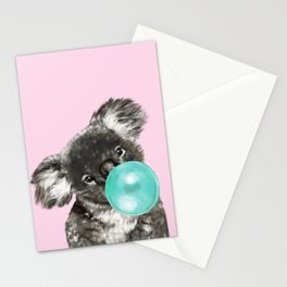 Playful Koala Bear with Bubble Gum in Pink Stationery Cards