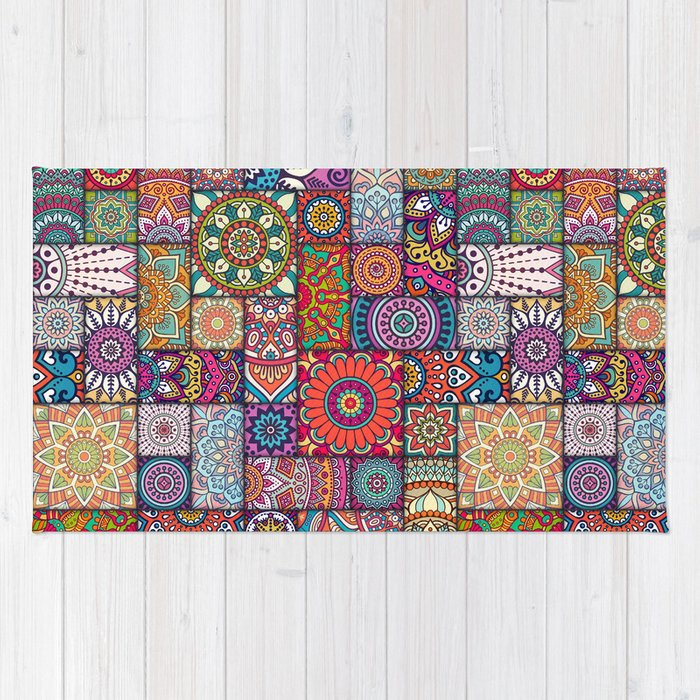 Boho Patchwork Quilt Pattern 2 Rug by robincurtiss | Society6 : quilt rugs - Adamdwight.com