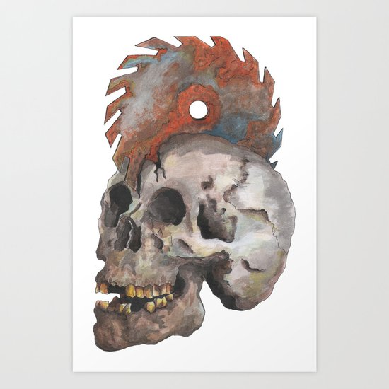 Inked up Skull Art Print