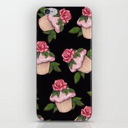 Cupcakes in Random Pattern on Black Background iPhone Skin