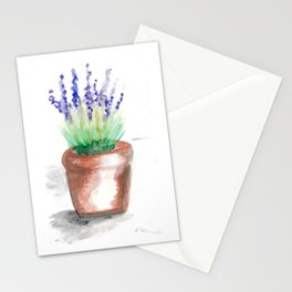 Watercolour lavender flowerpot Stationery Cards
