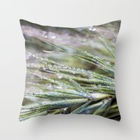 weed Throw Pillows featuring dewy weed by Bonnie Jakobsen-Martin