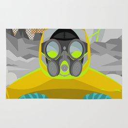 radioactive biohazard suit man on nuclear meltdown Rug