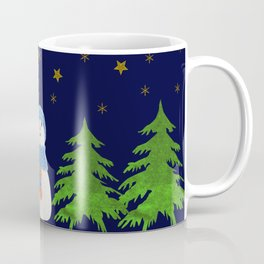 Sparkly gold stars, snowman and green tree Coffee Mug