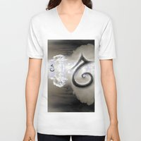 swan queen V-neck T-shirts featuring Swan by CrismanArt