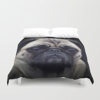 pug Duvet Covers featuring Pug by Malgorzata Zabawa