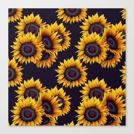 Sunflowers yellow navy blue elegant colorful pattern Canvas Print