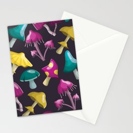 Magic fairy mushrooms with different 3d shapes and colors Stationery Cards