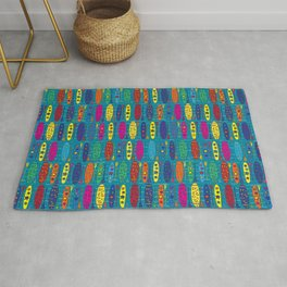 Paddle Board, Never Bored, Deep Water, multi-color Rug