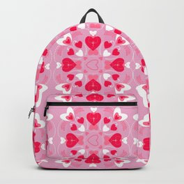Valentine Pink, Red, White Hearts Backpack