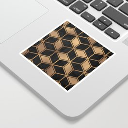 Charcoal and Gold - Geometric Textured Cube Design II Sticker