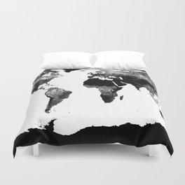 World Map  Black & White Duvet Cover
