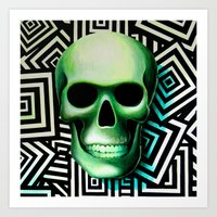 GREEN Skull Art Print