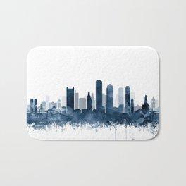 Boston City Skyline Blue Watercolor by zouzounioart Bath Mat