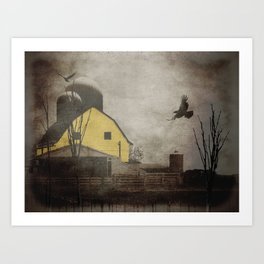 Yellow Barn on Sepia Background With Birds Flying A170 Art Print