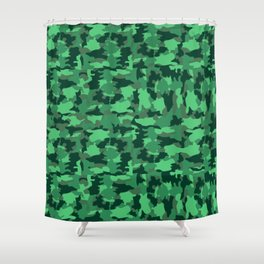 Green Army Camo Pattern Background Shower Curtain