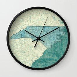 North Carolina State Map Blue Vintage Wall Clock
