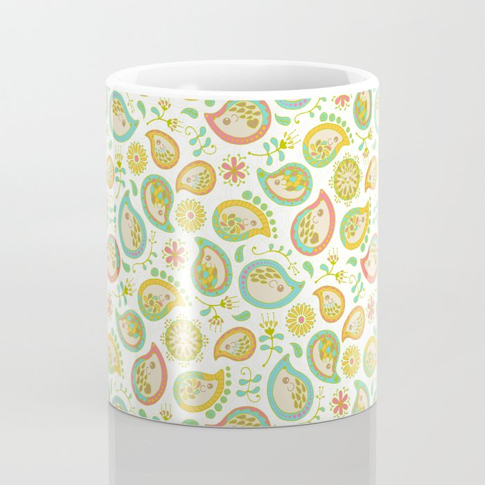 Hedgehog Paisley_Green outline Coffee Mug