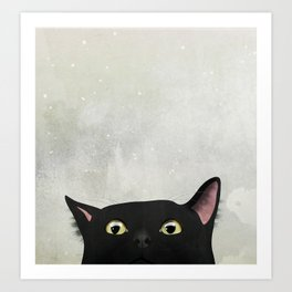 Curious Black Cat Art Print