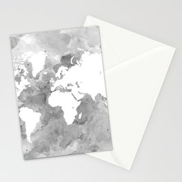 Design 49 Grayscale World Map Stationery Cards