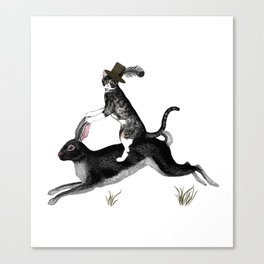 Cat And Rabbit Going For A Ride Canvas Print